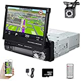 Car Stereo in Dash Single DIN 7 Inch HD Touch Digital Screen Head Unit Support Bluetooth GPS Mirror Link FM USB SD MP5 Hands-Free with Backup Camera and Microphone UNITOPSCI