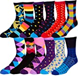 Boy's Pattern Dress Funky Fun Colorful Socks 12 Assorted Patterns Size 3-9 (Style Z, Shoe Size 3-9)