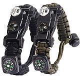 Bracelet Paracorde Survie pour Homme Femme, Militaire Paracord Bracelet Kit avec Flint + Boussole +...