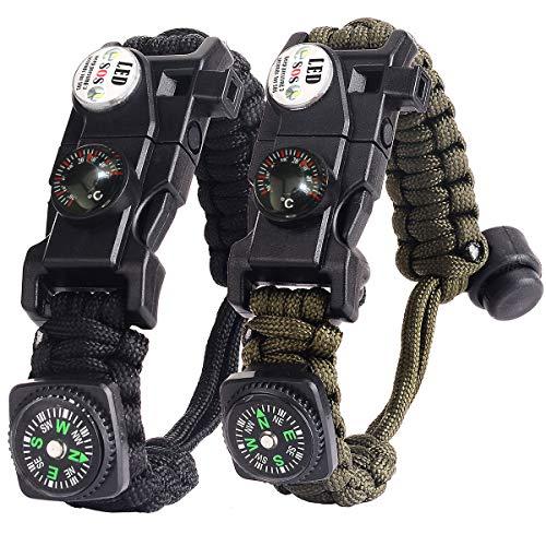 Bracelet Paracorde Survie pour Homme Femme, Militaire Paracord Bracelet Kit...