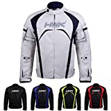 Motorcycle Jacket Men's Riding HWK Textile Racing Motorbike Hi-Vis Biker CE Armored Waterproof Jackets (Silver, S)