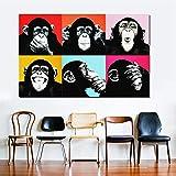Andy Warhol Coloré Singe Animal Affiche...