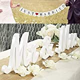 VIOPVERY Mr and Mrs Sign & Just Married Banner,Mr & Mrs Signs for Wedding Table,Large Wooden Letters for Sweetheart Table,Photo Props Wedding Decorations for Anniversary,White