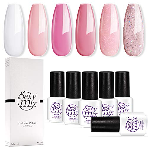 Sexy Mix Gel Nail Polish, 6 Colors Pink Collection Soak Off Nail Art Home Nail Gel Set 7ML Required Gel Base Top Coat UV/LED Nail Dryer Lamp