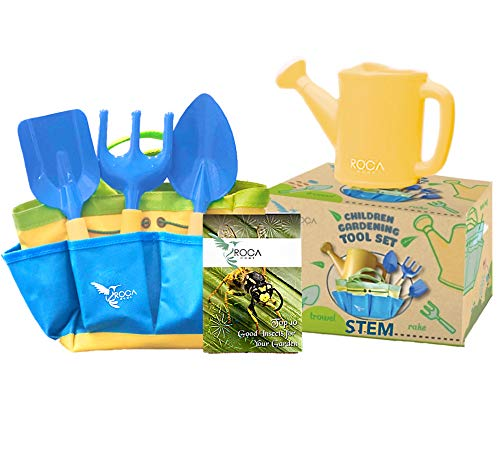 Kids Gardening Set - Outdoor Toys with STEM Learning Guide - Easter Basket Gifts Includes Tote Bag, Spade, Watering Can, Rake, Fork, Trowel.