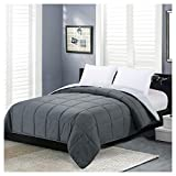 Reversible Lightweight Comforter - All Season Down Alternative Comforter Queen Summer Duvet Insert Grey Quilted Bed Comforters with Corner Tabs Full / Queen Size Dark Gray / Light Grey