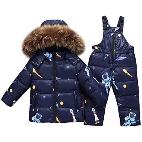 Odziezet Snowsuit da Unisex Bambini Tuta da Sci Piumino Trapuntato + Salopette 2 Pezzi Tutone Inverno 0-3 Anni