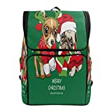 ALAZA Merry Christmas Reindeer Pug Dog Backpack Daypack School Travel Shoulder Bag