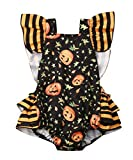 Baby Girl Halloween Costumes Outfits Clothes Ruffle Pumpkin Romper Bodysuit Jumpsuit Clothing (3-6Months, Baby Halloween)