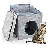 PUPPY KITTY Maison pour Chat Pliable, Cat Cave avec Terrasse,...