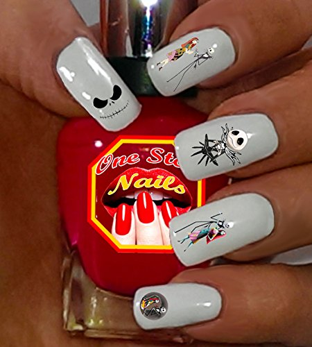 The Nightmare Before Christmas Jack Skellington and Sally Waterslide Nail Decals by One Stop Nails V1A.