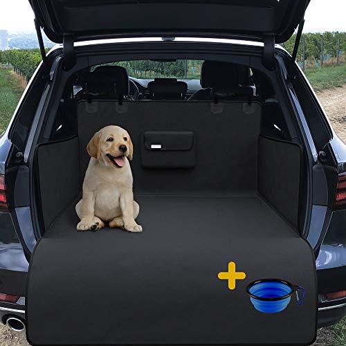 Universal Kofferraumschutz für Hund mit Ladekantenschutz, Napf, Beutel & Tasche | Auto Hundedecke - rutschfest Wasserdicht Waschbar Weich | Kofferraum Schondecke Kofferraummatte Hundematte Autodecke