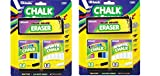 BAZIC 12 Color and 12 White Chalk with Eraser Sets, Assorted, 2 Sets