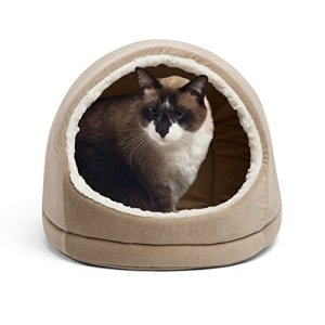 Best Friends by Sheri Kitty Hut, Ilan, Wheat - Cat and Dog Pet Cave with Wide Entrance and Removable Mat Insert - Water and Dirt-Resistant Bottom, Washer and Dryer Safe - for Pets 15lbs or Less
