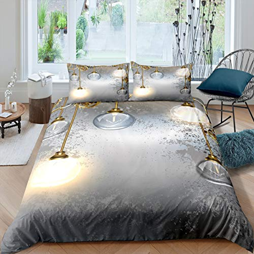 Industrial Bedding Set,Steampunk Style Antique Duvet Cover Set,Retro Light Bulb Comforter Cover Boys Teens Kids Youth Man,Gringe Vintage Gold Grey,Decorative 2 Pcs Single Size