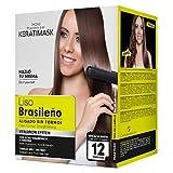 Be Natural Kit de alisado brasileño con queratina, verde