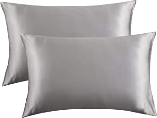 Bedsure Satin Pillowcase for Hair and Skin, 2-Pack – Queen Size (20×30 inches)..
