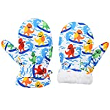 Lined Fleece Toddler Mittens Kids Winter Warm Gloves Child Ski Gloves Waterproof Snow Baby Mitten for Boys Girls surfing Dinosaur Mittens L
