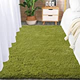 Comeet Soft Living Room Area Rugs for Bedroom Fluffy Rugs for Kids Room, Floor Modern Indoor Shaggy Plush Carpets, Home Decor Fuzzy Comfy Nursery Baby Boys Abstract Accent, Green Shag Rug 3x5 Feet