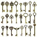 24 piezas grandes llaves de esqueleto de bronce antiguo llave rústica para la decoración de la...
