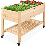 Best Choice Products Raised Garden Bed 48x24x32in Mobile Elevated Wood Planter w/Lockable Wheels, Storage Shelf, Liner