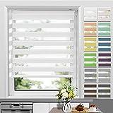 Store Enrouleur Jour Nuit sans Perçage 55 x 150 cm Blanc, Facile à Installer avec Clips pour Fenêtre ou Porte