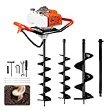 ECO LLC 63cc 3.4HP Gas Powered Auger Post Hole Digger with Two Earth Auger Drill Bit 6' & 10' + Extention for Any Earth Ice Digging/Drilling Operation (Subcontract delivery)