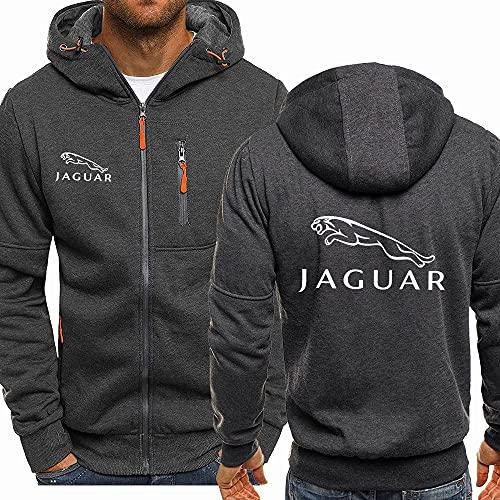 KJGLXD Sweat à Capuche pour Hommes Pull Jaguar Rembourrage en Velours Décontractée Jeune Unisexe Cardigan en Peluche Veste Convient à Printemps, Automne, Hiver