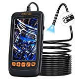 Aplenta Dual Lens Industrial Endoscope, 1080P HD 4.3' IPS Screen Inspection Camera with 7mm Lens IP67 Waterproof Digital Borescope, Sewer Camera with 7 LED Lights, 11.5FT Semi-Rigid Cable, SD Card