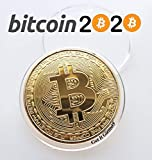 24K Gold-Plated Bitcoin Collectable Coin w Display Case   Chase Coin   BTC Cryptocurrency 2020 The Halvening