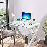 Houjud Tempered Glass Computer Desk, Ultramodern Home Office Desk Study Writing Desk with K-Shaped Leg, Tempered Glass Desktop and Metal Frame, Work Desk for Home Office (White, Z Shape-39.4 inch)