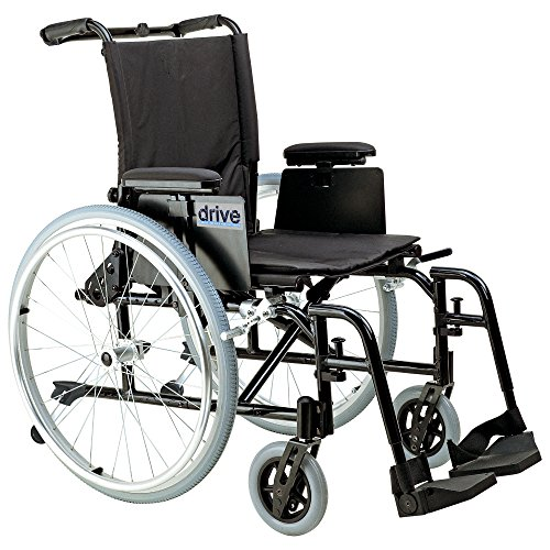 Drive Medical Cougar Ultra Lightweight Rehab Wheelchair with Various Arms Styles and Front Rigging Options, Black, 16 Inch