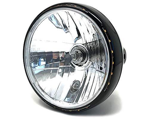 """Retro Motorrad Scheinwerfer 7.5 \"""" 55W mit Slim LED Halo - Schwarz - Homologated"""