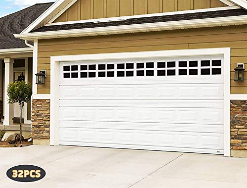 2 Car Garage Kits - 32 Pcs Household Easy Installation Magnetic Windows Panels for Car Garage Door Panes Fake Faux Magnetic Windows Decorative Hardware - Size 6.125' X 4'