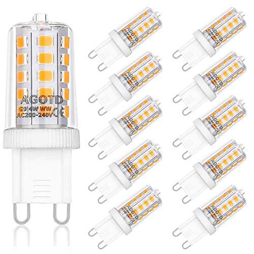 AGOTD 4W G9 LED Lampadine, Lampade LED Bianche Calde da 2700K, Equivalente a 40W Lampada Alogena, 400LM, AC220-240V, Angolo di visione 360, Confezione da 10