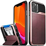 Vena iPhone 11 Pro Max Wallet Case, vCommute (Military Grade Drop Protection) Flip Leather Cover Card Slot Holder with Kickstand, Designed for Apple iPhone Pro Max (6.5 inches) - Rose Gold