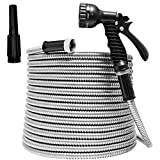 TUNHUI 75FT Heavy Duty Flexible Metal Garden Hose Stainless Steel Water Hose with 2 Free Nozzles Metal Hose Flexible Durable Kink Free and Easy to Store Outdoor Hose