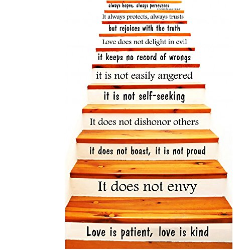 Wall Decals Staircase Quotes Love is Patient, Love is Kind - 1 Corinthians 13 Stair CASE Stairway Stairs Quote Wall Vinyl Decal Stickers Bedroom Murals