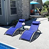 PURPLE LEAF Patio Chaise Lounge Set of 3 Outdoor Lounge Chair Beach Pool Sunbathing Lawn Lounger Recliner Chiar Outside Tanning Chairs with Arm for All Weather, Side Table Included, Royal Blue