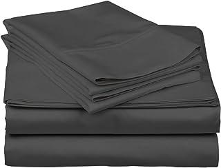 True Luxury 1000-Thread-Count 100% Egyptian Cotton Bed Sheets, 4-Pc Queen Dark Grey Sheet..