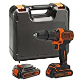 BLACK+DECKER BDCHD18KB-GB, Cordless Combi Drill with Kitbox, 18 V and 2 Batteries