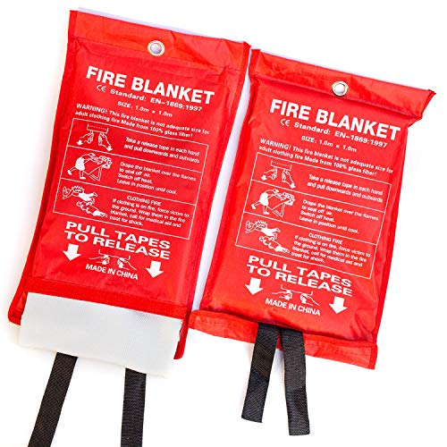 PADOMA Fire Blanket Fire Suppression Blanket for Home (2 Pack) Heavy...