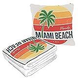 Well Traveled Miami Beach Florida Tee Palm Pillow Blanket Combo For Travel 50 × 60.23inch Manta de viaje combinada 2 en 1 cálida y suave para aviones Camping, viaje en automóvil Almohada con manta in