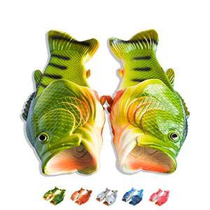 Coddies Fish Flip Flops | The Original Fish Shoe | Unisex Sandals, Bass Slides, Slippers, Pool, Beach & Shower Shoes | Men, Women & Kids (Green | 9-10 Men | 10-11 Women |EU 42-43)