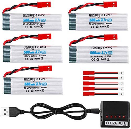 Makerstack Batteria Lipo 1S 3,7 V 500 mAh per UDI U818A-1 U817 U818A U817A WLtoys V959 V222 V929 V949 V969 V979 V212...