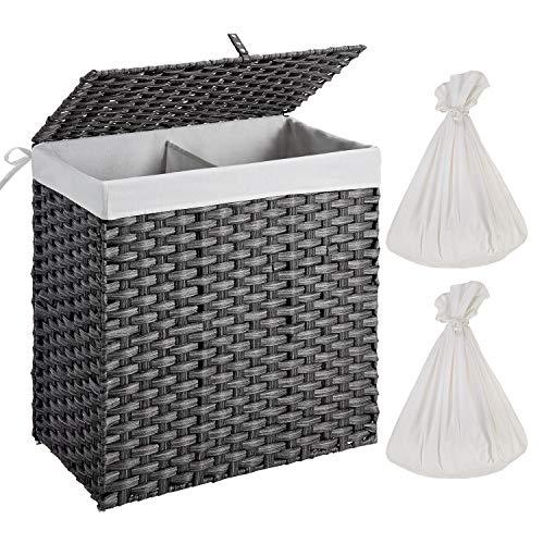 Greenstell Wäschekorb mit abnehmbarer Innentasche und Deckel, handgewebter Wäschesammler mit Deckel und Griffen, 2 Fächer Wäschesortierer faltbar und einfach zu installieren (Große Größe Grau)