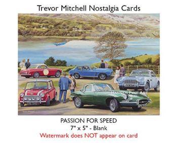 Classic British Car MG Mini Jensen Aston Martin Jaguar Birthday Card