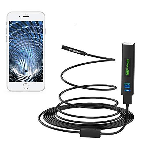 Pancellent Wireless Snake Camera WiFi Inspection Camera 1200P HD Endoscopio con 8 LED Luce Rigida periscopio Cavo per iPhone Android Smartphone Tavolo iPad PC (16.5FT, Ultima Versione)