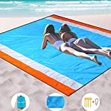 Mumu Sugar Sand Free Beach Blanket Extra Large Size 82' X79' Sand Proof Beach Blanket Outdoor Picnic Mat for Travel, Camping, Hiking and Music Festivals-Lightweight Quick Drying Heat Resistant