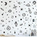 KAIRNE 79Pcs Sticker Mural Espace,Autocollants Muraux pour Chambre Bébé Garçon,Sticker Mural Planète Noir et Blanc,Astronaute Fusée Stickers Muraux pour Chambre D'enfant Bébé Pépinière Salle de Jeux